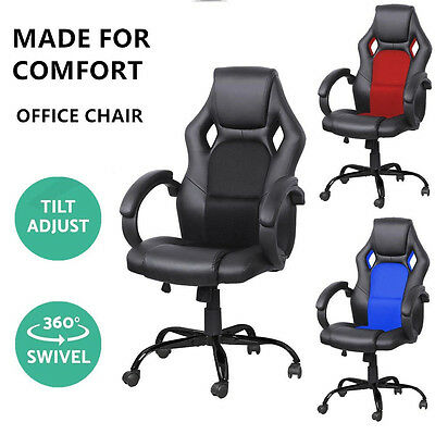 Racing Office Chair Seat Executive Computer Gaming PU Leather Deluxe Style