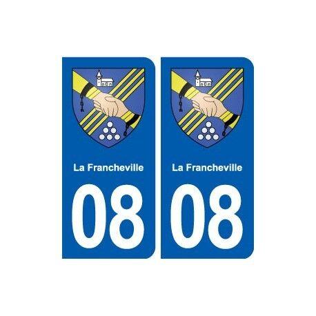 08 La Francheville blason ville autocollant plaque stickers arrondis