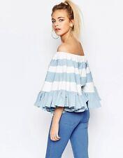 HALEY OFF SHOULDER BLUE & WHITE Ruffle Stripe BIG Sleeve Blouse/Shirt/Top L BHCS