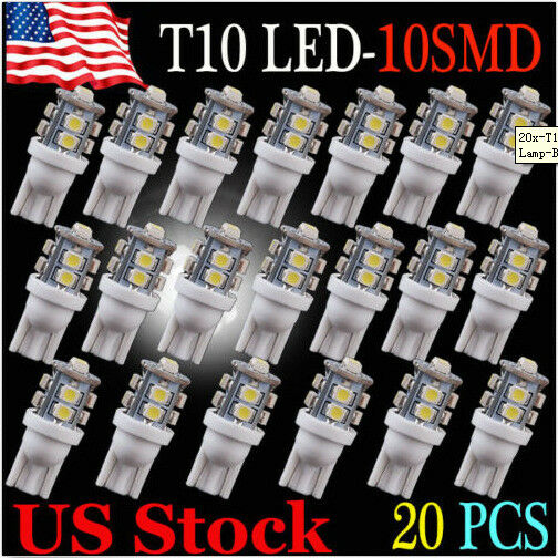 20 x Power White 10SMD LED T10 194 921 W5W 1210 RV Landscaping Light Bulbs US