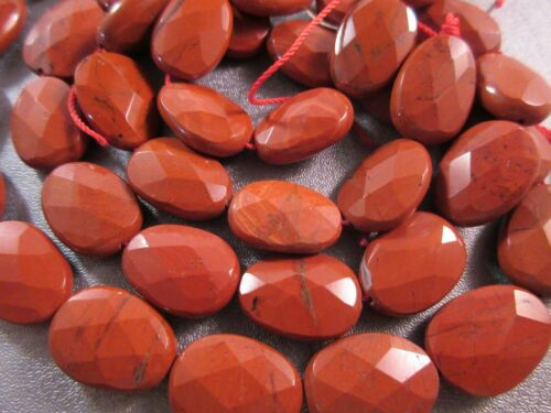 Red Jasper Faceted Oval Beads 22pcs