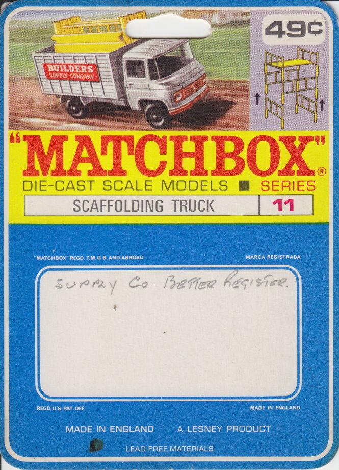 MATCHBOX 11d Scaffolding camion rare canadische étui. inutilisé