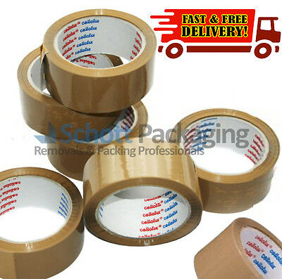 Buff Low Noise Parcel 72 Rolls of Cellofix Brown Packaging Tape 48mm x 66m
