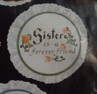 A Sister Is A Forever Friend Vintage Crewel Thoughtful Messages Embroidery Kit