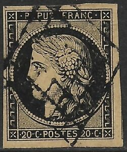 France-1849-50-Ceres-20c-Black-on-Buff-3b-F-VF-Used-CV-225-00