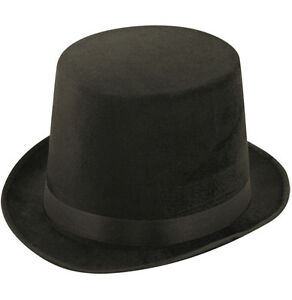 BLACK-TALL-TOP-HAT-ADULT-MAGICIAN-FANCY-DRESS-VICTORIAN-LINCOLN-RINGMASTER