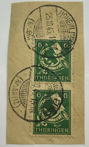 1945 THURINGIA POSTHORN STAMPS WITH HOHENLOHE CANCELS POSTMARKS