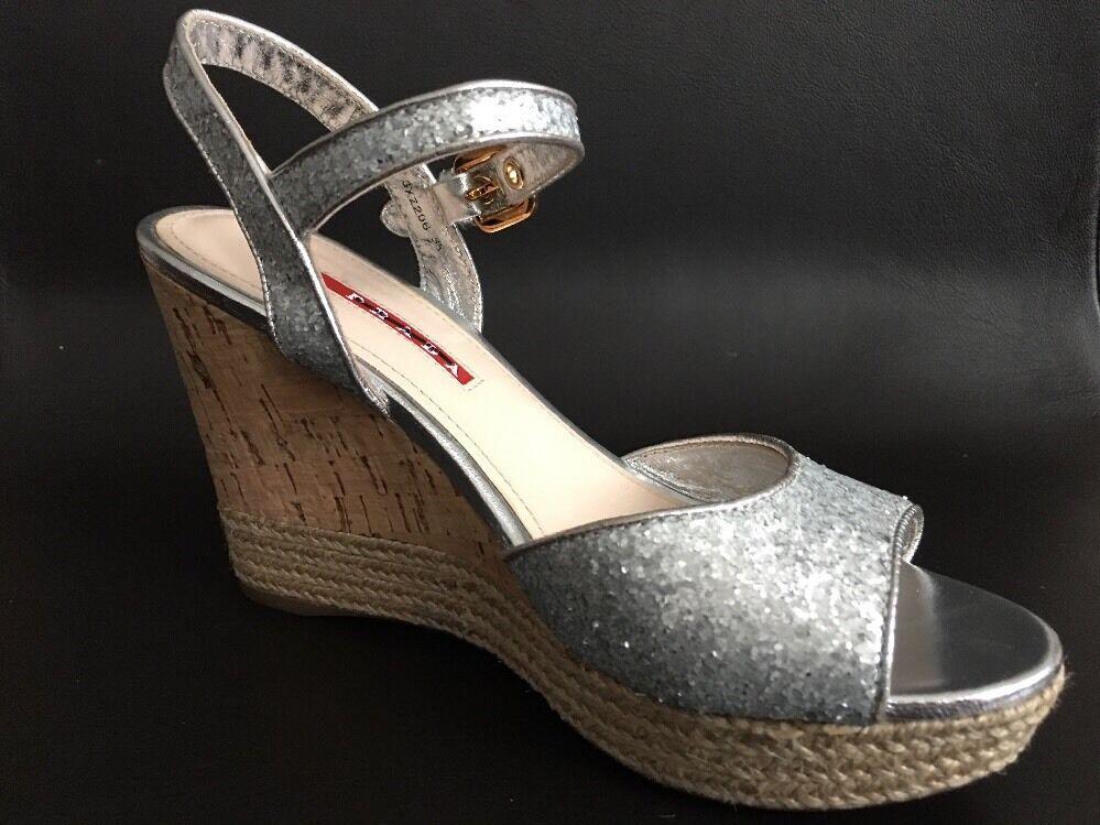 Prada plata Glitter Alpargata Corcho Sandalia De Cuña Zapato  650 Talla 6