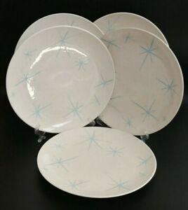 Royal-China-Celeste-Starburst-on-Cream-Speckled-Background-Dinner-Plate-Lot-of-5