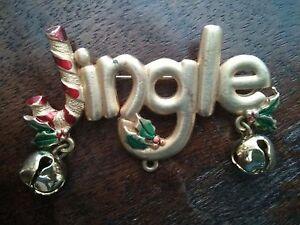 #Vintage Jingle Bell w/Holly Pin Brooch