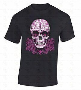 Pink-Roses-Sugar-Skull-T-SHIRT-Day-Of-Dead-Dia-De-Los-Muertos-Gothic-Death-Shirt