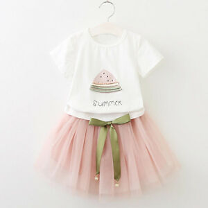 8bbe357c09 2PCS Kids Toddler Baby Girl Party Dresses Suit T-Shirt Tops+Bow ...