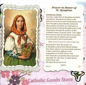 Saint Prayer In Honor Of Saint Dymphna Confident St Laminated Holy Card Dymphna