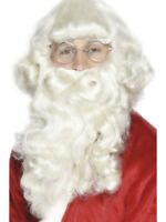 Long Santa Beard Mustache Set Christmas Costume Claus White Mens Adult Xmas