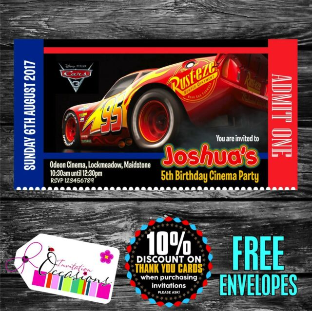 Personalised Birthday Invitations Cars 3 Movie Ticket Cinema Party X