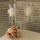 Metal candle holder wedding pearl crystal centre piece table shabby candelabra