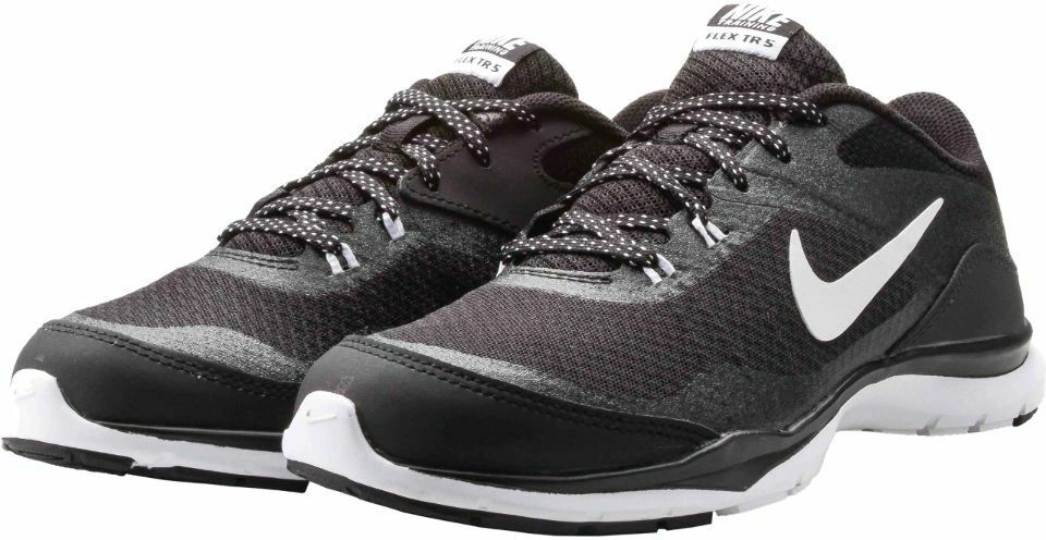 Womens Nike Flex Trainer 5 Black White Grey running training 724858-001