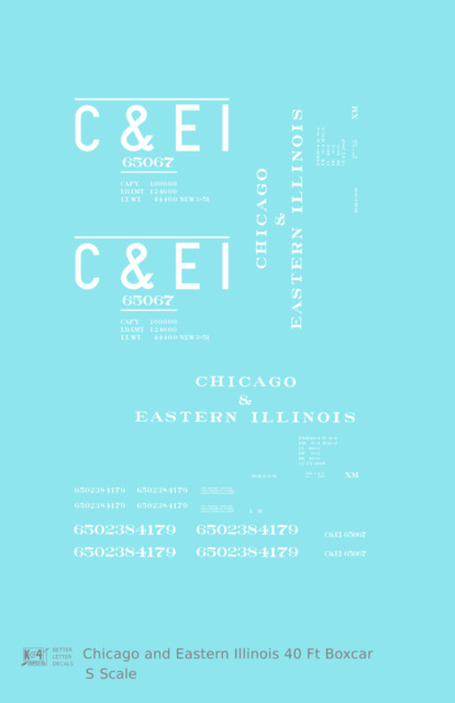 K4 S Decals Chicago and Eastern Illinois C&EI Boxcar White Roman Font