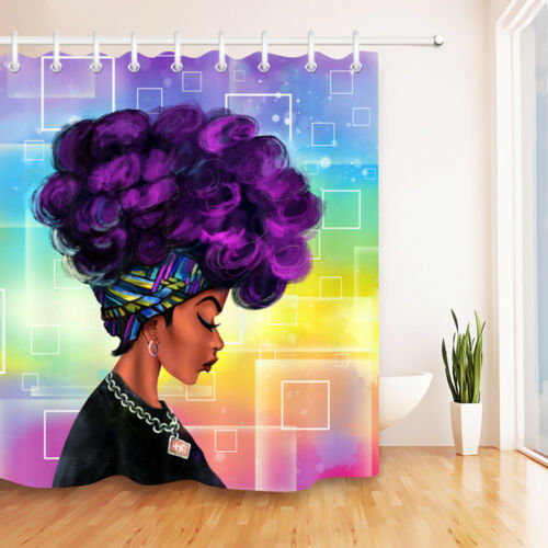 US Ship Afro African American Black Woman Waterproof Fabric Shower Curtain Hooks