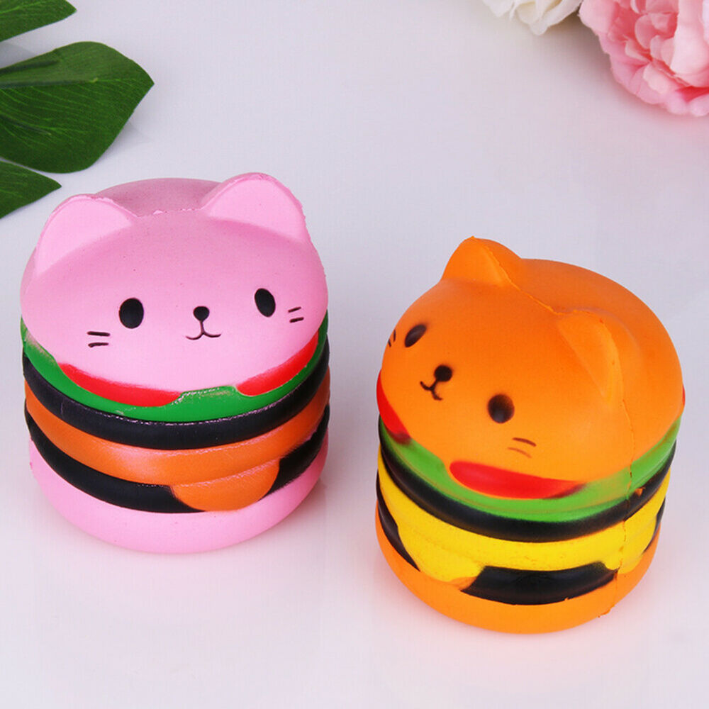 Scented Hamburger Cat Slow Rising Squeeze Toy Kids Adult Str