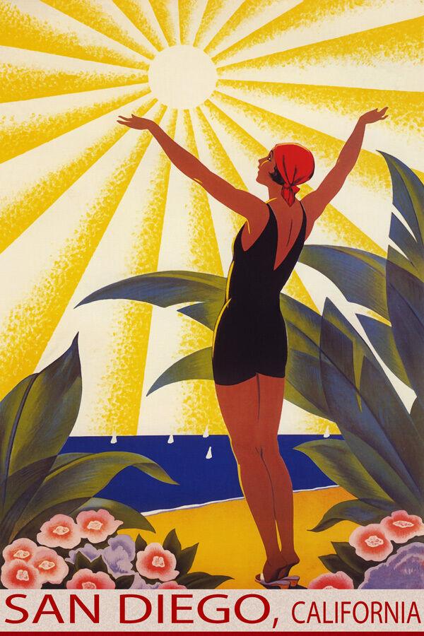 SAN DIEGO CALIFORNIA SUNSHINE BEACH GIRL SALUTE SUN TRAVEL VINTAGE POSTER REPRO