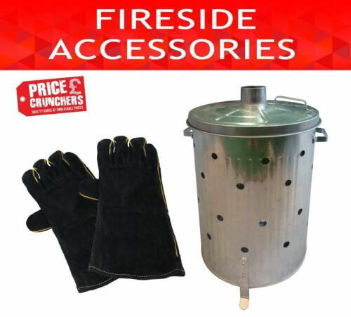 Garden Galvanised Incinerator Bin Waste Fire Burning 75 litre and Firegloves