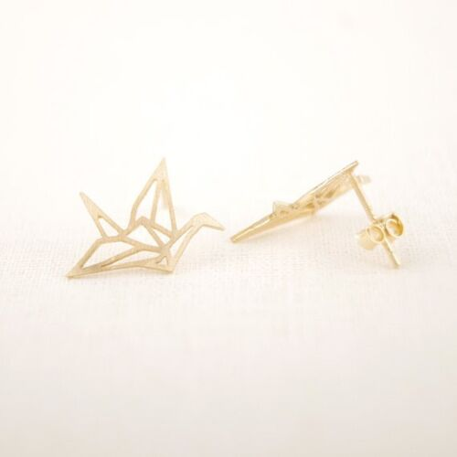 Ohrstecker Origami Kranich 18 Karat vergoldet Geo Fashionista Lieblingsschmuck