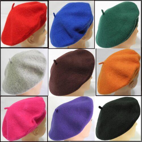 Ladies women/'s soft warm 100/% Wool French Artist Beret Beanie slouch Hat Cap