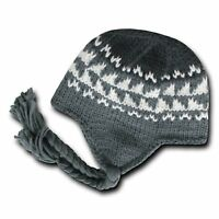 Charcoal & Gray Peruvian Beanie Cap Hat Winter Braided Ear Flap Chullo Warm Hats