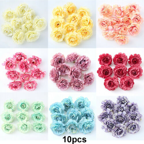 10Pcs Artificial Peony Fake Bouquet Flower Heads Floral Wedding Home Decoration