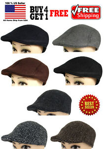 Mens-Ivy-Cap-Gatsby-Newsboy-Cotton-Felt-Hat-Golf-Driving-Flat-Winter-Cold-NEW