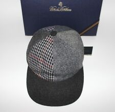 NWT BROOKS BROTHERS Size L Men's Black Patchwork Plaid Wool Blend Baseball Hat