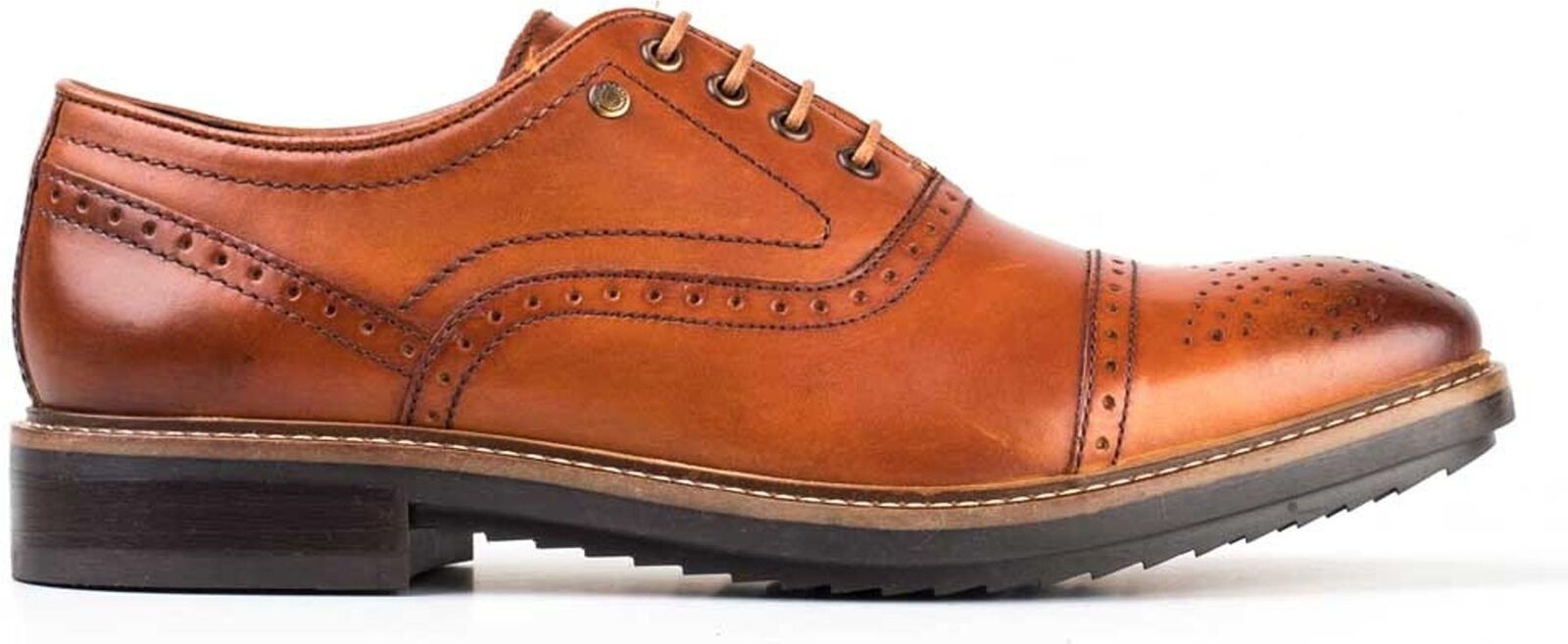 Base London HARDY Mens Washed Leather Oxford Toe Cap Cap Cap Office Brogue schuhe Tan 867ead