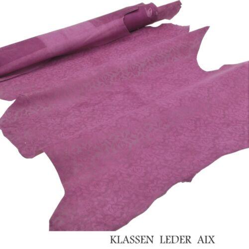 Lammleder Flower Design Velour 0,9 mm Dick Echt Leder Lammvelour Leather L112