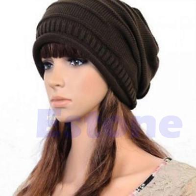 New Winter Beanie Ski Hat Unisex Plicate Baggy Knit Crochet Oversized Slouch Cap