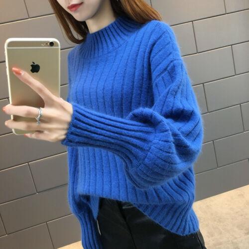Womens Puff Sleeve Tuttleneck Mock Neck Jumper Oversized Loose Knit Sweater Tops