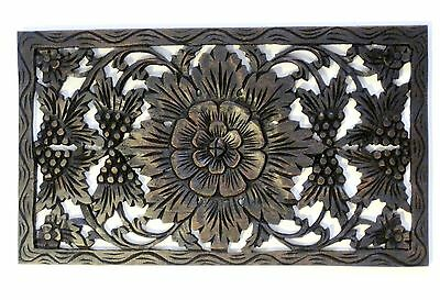 Relief Carving Wood Wall Art Teak Decor Thai Lotus Flower Wooden Carved Panel