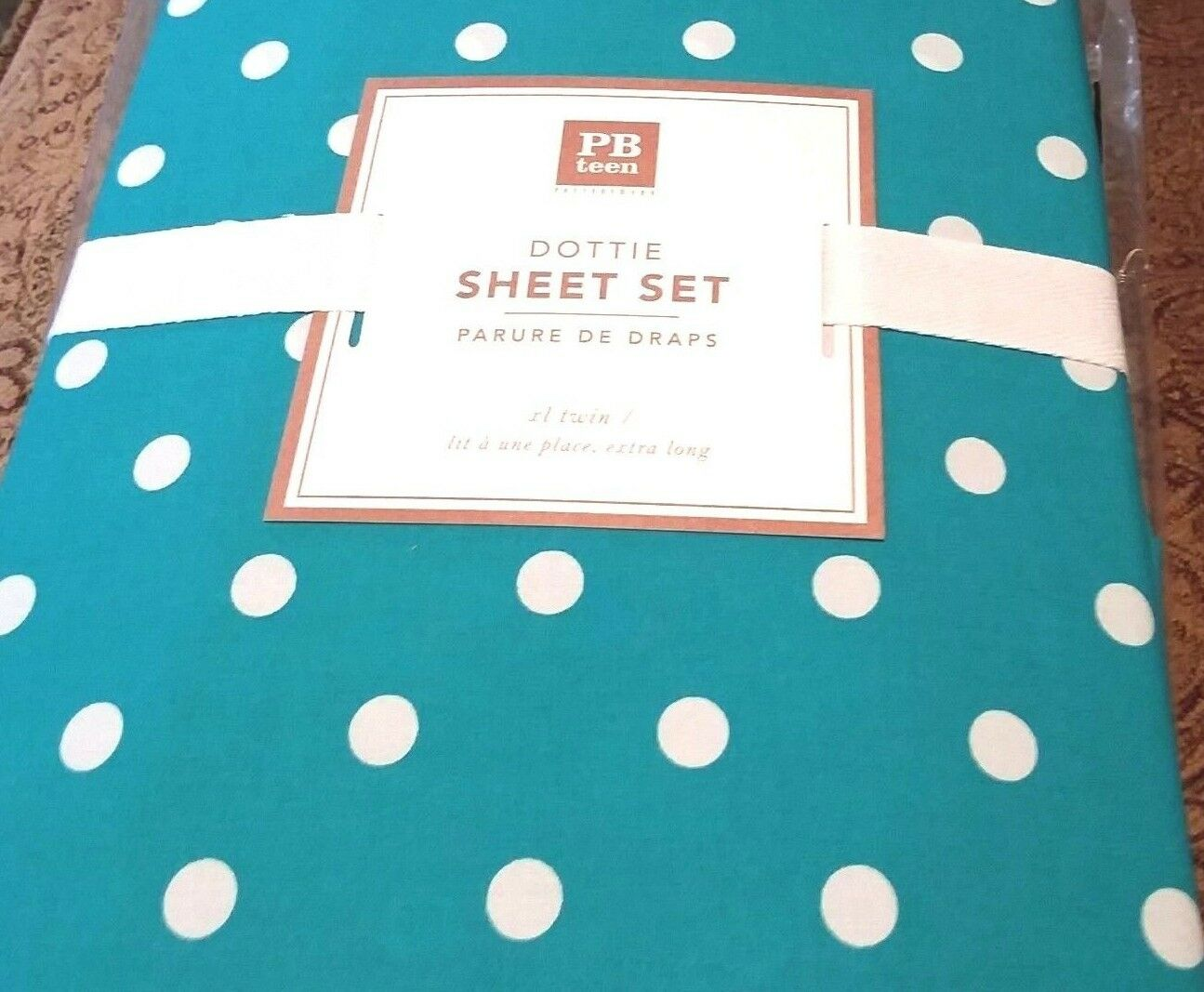 3 piece Pottery Barn teen XL Twin  Größe Dottie Sheet Set Aqua Marine  Blau NIP