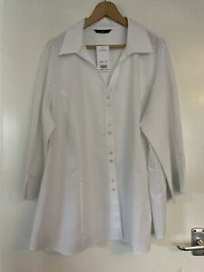 Evans-BNWT-White-Shirt-Blouse-Size-26-New-Tags-Buttons-Office-Work-Smart