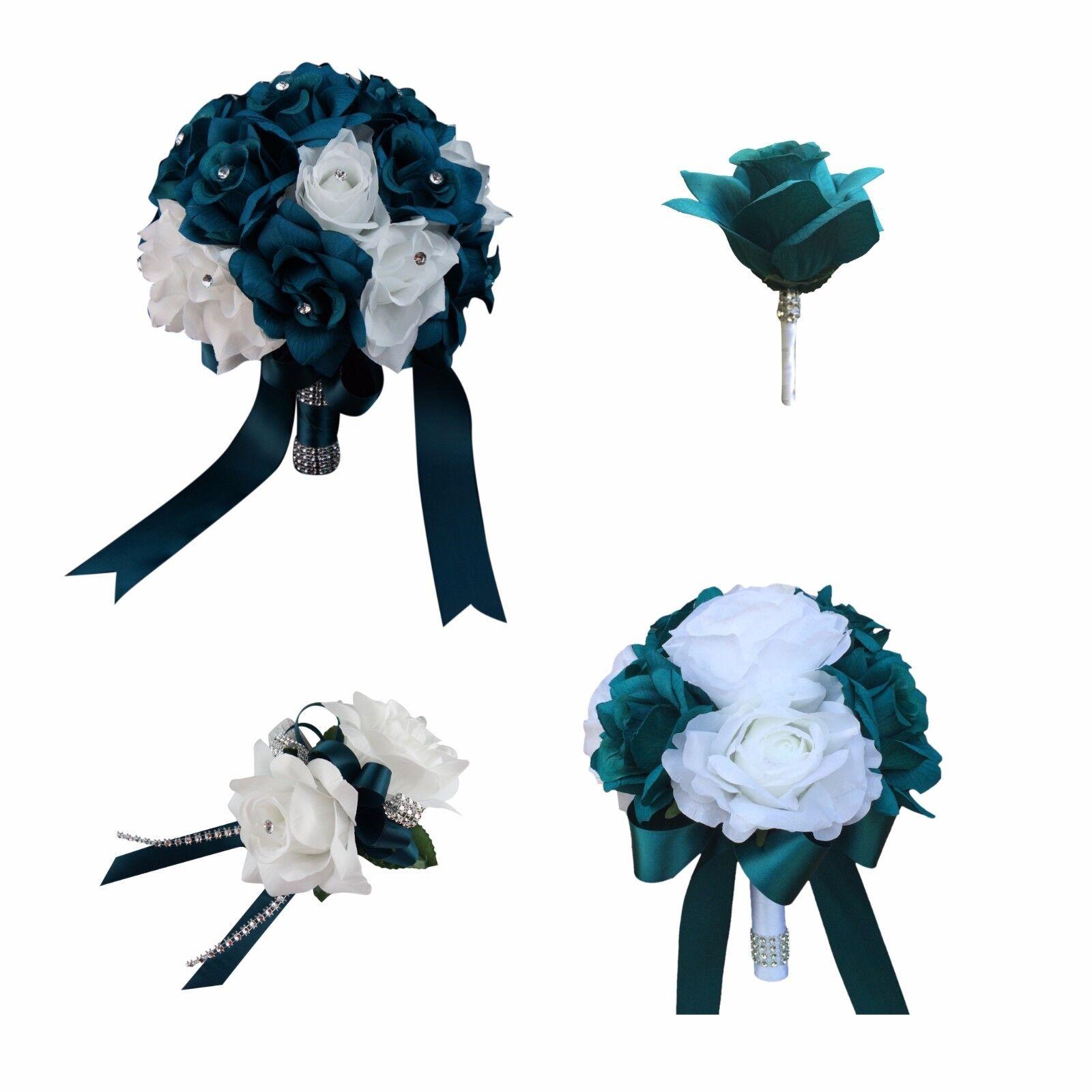 Mariage Paquet-Turquoise et Blanc Artificielle Mariage bouquets
