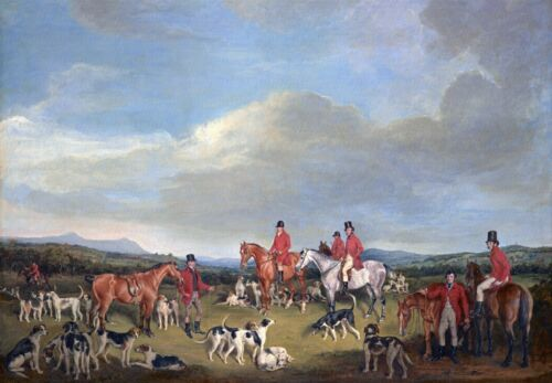 Dogs Hunting Fox Hounds Antique vintage decor Francis Grant ART Horses