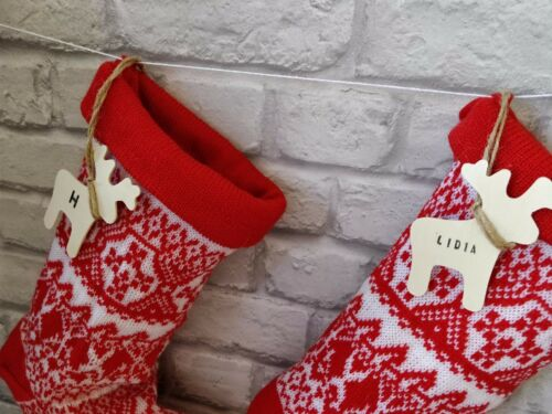 New Personalised Reindeer Knitted Stocking Sack Gift Christmas Reindeer Tag