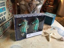 2 Coastal Collection Beaded Seahorse Glass Ornament Nautical Christmas NIB
