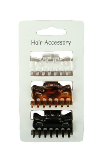CARD OF 3 CLAMPS 4cm IN MIXED OR BLACK OR TORTOISESHELL