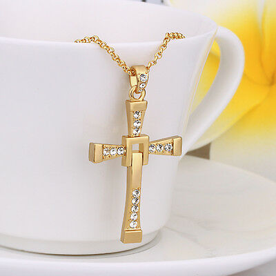 New Fashion Cool Men's Brave Cross Crystal Pendant Silver/Gold Necklace