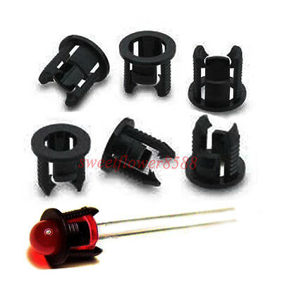 100pcs 5mm Black Plastic LED Clip Holder Case Cup Mounting New Free Shipping