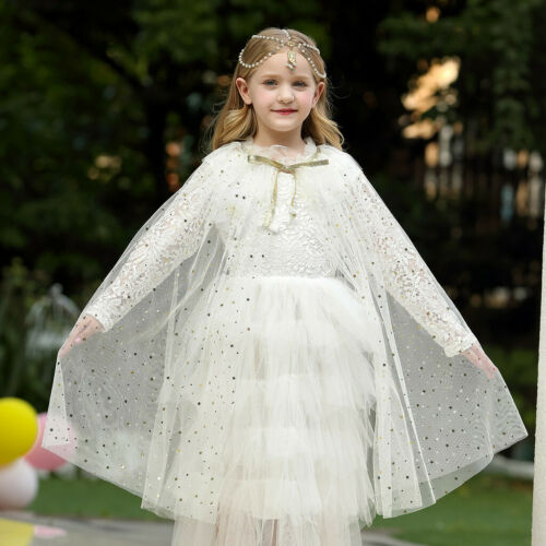 Children Infant Girl Bling Sequins Tulle Cape Costume Christmas Shawl Cosplay
