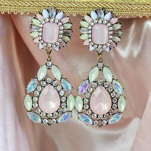 Pendiente-Orejas-Clips-Colgante-Grande-Gota-Rosa-Palido-Crema-Floral-Matrimonio