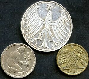 3-Germany-Coins-1951D-5-Mark-11-2-Grams-625-Silver-1949D-50-Pf-1925G-5-Pf