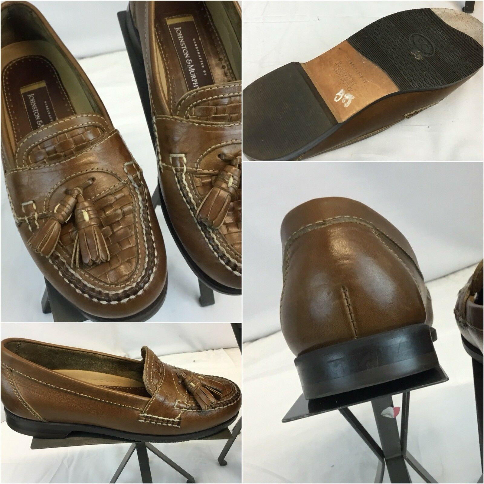 Johnston Murphy Loafers Slip On shoes Sz 8.5 Brown Tassels Brazil Mint YGI D8